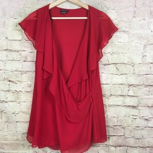 City Chic Sheer Ruffle Top Plus Size M Red